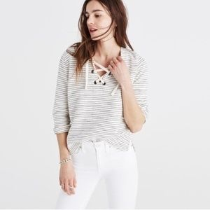 Madewell Lace Up Striped Sweater Top White Black
